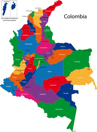 Map of the Republic of Colombia with the regions colored in bright colors and the main cities Vectores