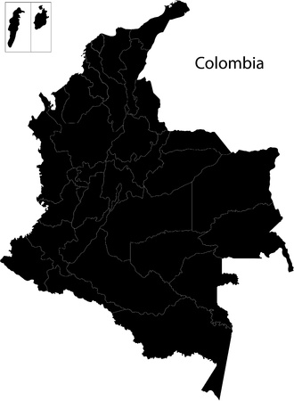 Black Colombia map with department borders Illustration