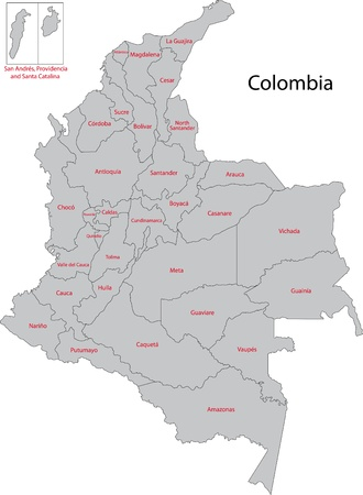 administrative divisions: Administrative divisions of Colombia Illustration