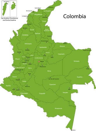 Map of administrative divisions of Colombia Illustration