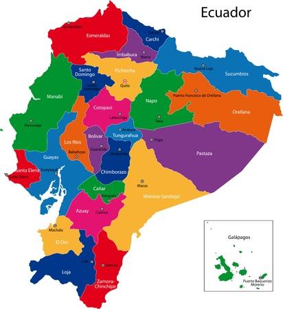 ecuador: Kaart van de Republiek Ecuador met de regio's gekleurd in heldere kleuren en de belangrijkste steden Stock Illustratie