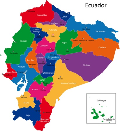south america map: Map of the Republic of Ecuador with the regions colored in bright colors and the main cities Illustration
