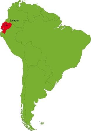 ecuador: Locatie van Ecuador op het Zuid-Amerika continent Stock Illustratie