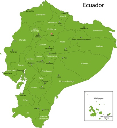 ecuador: Green Ecuador map with province borders Illustration