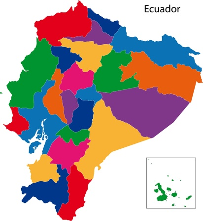 Map of the Republic of Ecuador with the regions colored in bright colors Vector