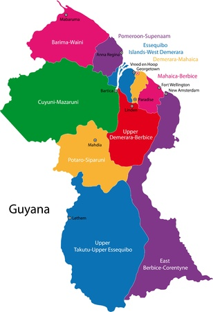 co operative: Map of the Co-operative Republic of Guyana with the regions colored in bright colors and the main cities