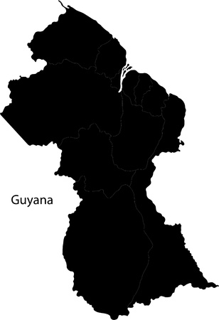 Black Guyana map with region borders Vector