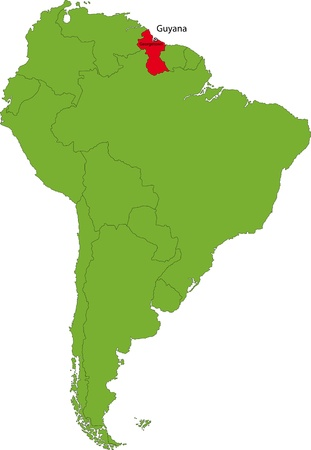 georgetown: Location of Guyana on the South America continent