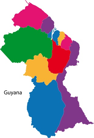 georgetown: Administrative divisions of Guyana Illustration