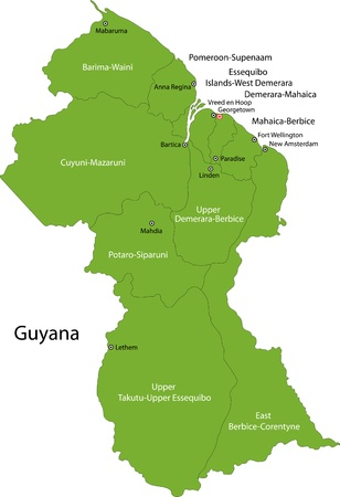 guyanese: Administrative divisions of Guyana Illustration