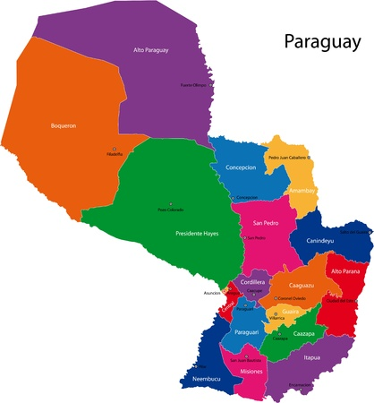 paraguay: Map of the Republic of Paraguay with the departments colored in bright colors and the main cities Illustration