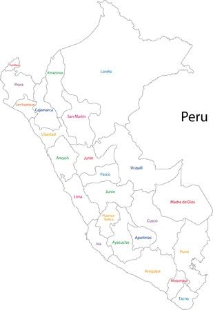 mapa del peru: Divisiones administrativas de Perú