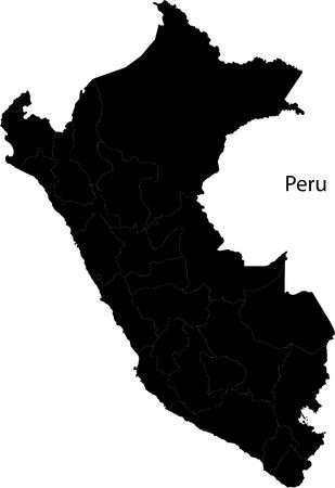 mapa del peru: Negro Perú mapa con las fronteras de la región