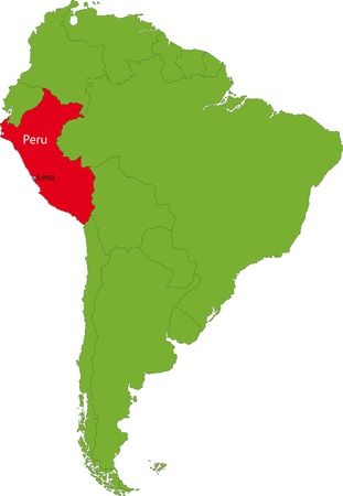 Location of Peru on the South America continent