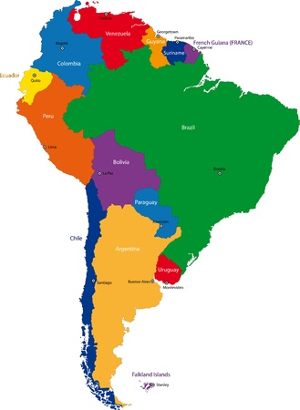 paraguay: Colorful South America map with countries and capital cities