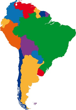Colorful South America map with country borders Vectores