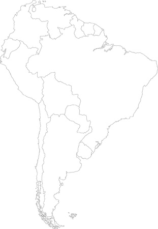 southern: South America map with country borders