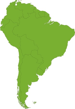 latin americans: Green South America map with country borders