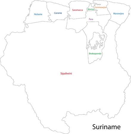 suriname: Administratieve afdelingen van Suriname