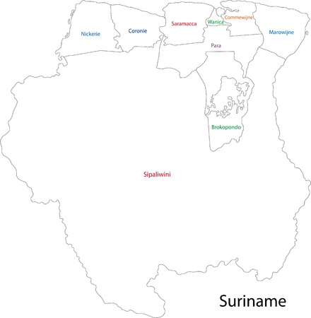 Administrative divisions of Suriname Vector