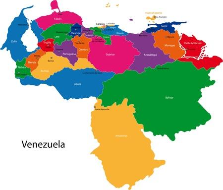 mapa de venezuela: Mapa de la República Bolivariana de Venezuela con los Estados coloreada en colores brillantes y las principales ciudades Vectores