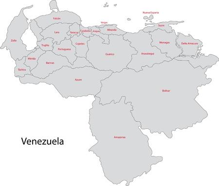 mapa de venezuela: Divisiones administrativas de Venezuela