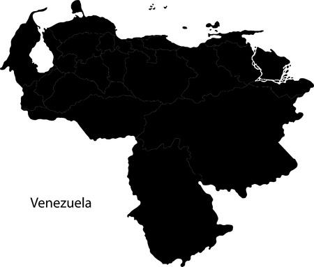 mapa de venezuela: Negro Venezuela mapa con las fronteras estatales