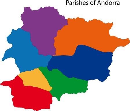 andorra: Map of administrative divisions of Principality of Andorra