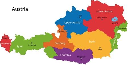 Kleurrijke Oostenrijk kaart met staten en de belangrijkste steden