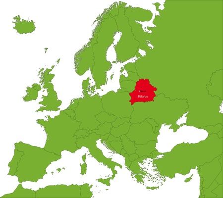 belorussian: Location of Belarus on the Europa continent