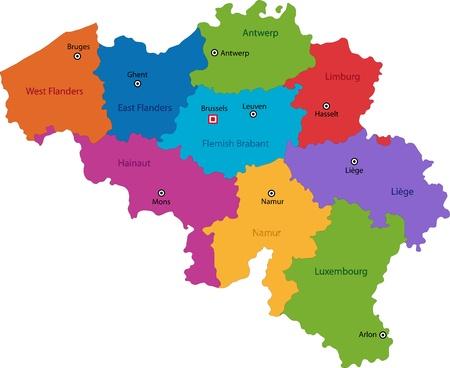 Colorful carte Belgique avec les provinces et les principales villes