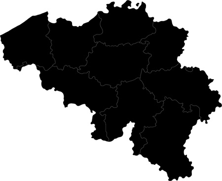 Black Belgium map with region borders Illustration