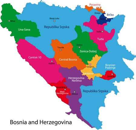 Map of administrative divisions of Bosnia and Herzegovina Çizim