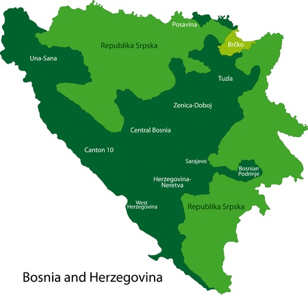 Map of administrative divisions of Bosnia and Herzegovina Vector