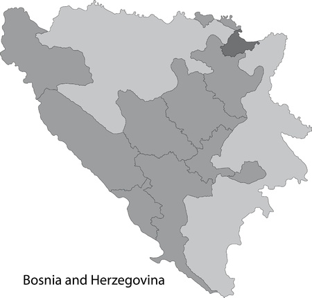 bosnia: Map of administrative divisions of Bosnia and Herzegovina Illustration