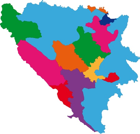 serb: Map of administrative divisions of Bosnia and Herzegovina Illustration