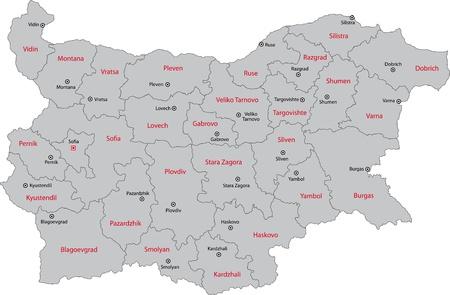 Kaart van de administratieve afdelingen van Bulgarije