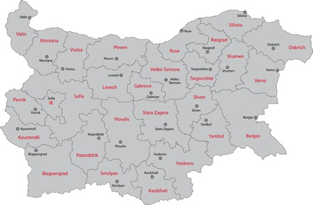 administration: Map of administrative divisions of Bulgaria Illustration
