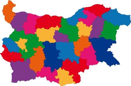 bulgaria: Map of administrative divisions of Bulgaria Illustration