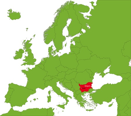 bulgaria: Location of Bulgaria on the Europa continent