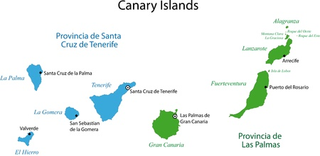 Colorful Canary Islands map with provinces and main cities