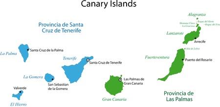 Kleurrijke Canarische Eilanden in kaart met provincies en de belangrijkste steden