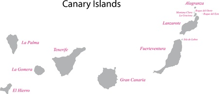 Colorful Canary Islands Map With Provinces And Main Cities Royalty