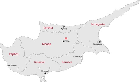 Cyprus Map With Region Borders Royalty Free Cliparts Vectors And