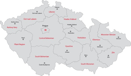Regions of the Czech Republic with capital cities Vector