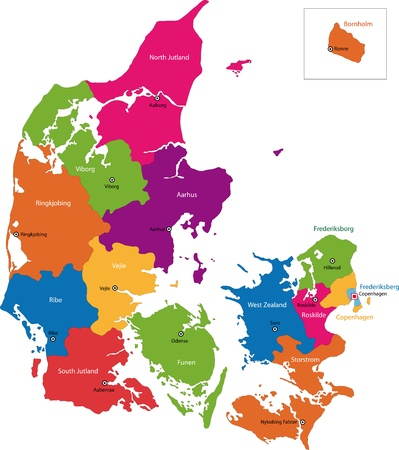 administrative divisions: Map of administrative divisions of Denmark Illustration