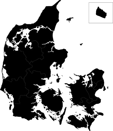 Map of administrative divisions of Denmark Illustration