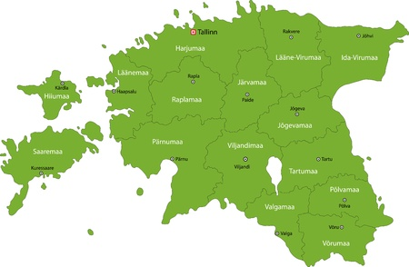estonia: Map of administrative divisions of Republic of Estonia
