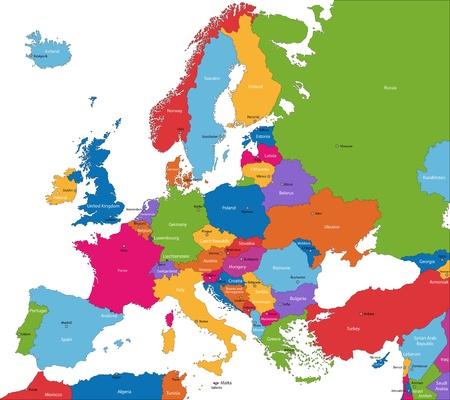 Colorido mapa de Europa con los países y sus capitales Foto de archivo - 21813577
