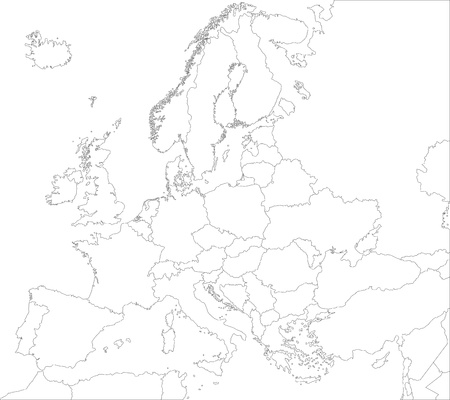 Outline kaart van Europa met de landen